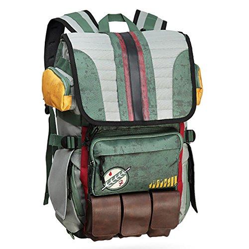 Rebels Alliance Icon Boba Fett Laptop Rucksack Star Wars Element Tasche Reisetasche mit Gepäckanhänger, Boba Fett (Grün) - BP-02