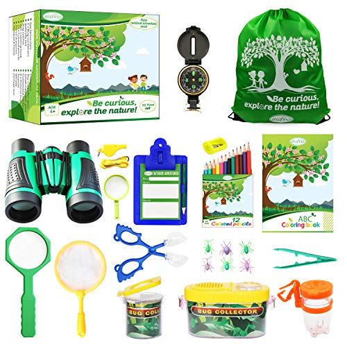 RUVVAS Kids Outdoor Adventure Pack - Natural Exploration Set for Boys and Girls, Educational Early Learning Toys for Studying Plants, Animals and Bugs, Bug Catcher Set (Green)