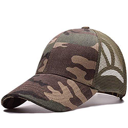 Amknn Gorra de béisbol de cola de caballo, sombrero de ponycaps de malla desordenada, moños de camionero, gorra de béisbol lisa, gorra de papá para mujeres y hombres