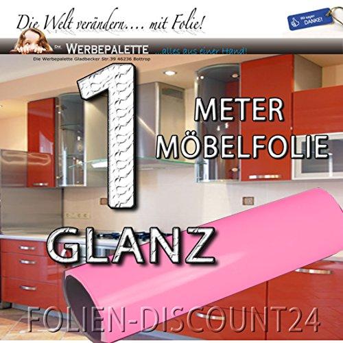 Folien-Dicount24 (EUR 6,20 / Quadratmeter) Klebefolie Möbelfolie Glanz Soft Pink 3175 Preis Tip ! (1 Meter x 61 Zentimeter)