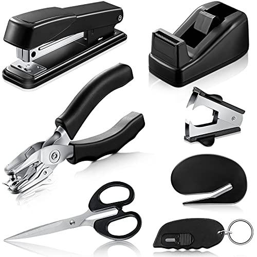 7-Piece Black Desk Accessory Kit Includes Desktop Stapler, Stapler Remover, Single Hole Punch, Tape Dispenser, Stainless Steel Scissors, Small Telescopic Knife and Envelope Slitter Mail Opener