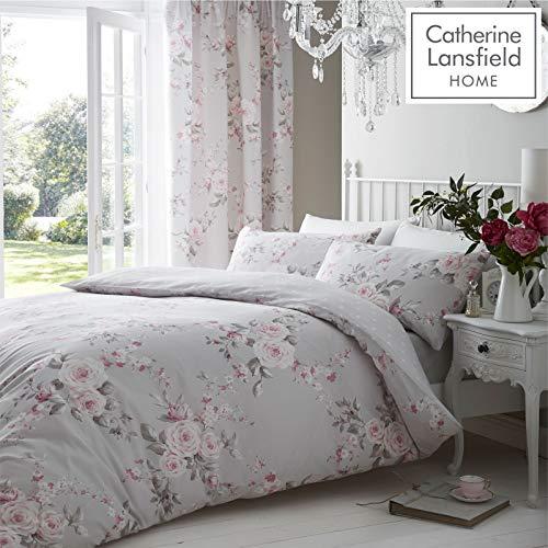 Canterbury Bettbezug, Blumenmuster, Doppelbettgröße, grau