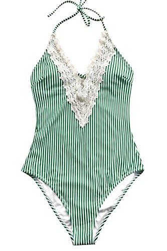 CUPSHE Women's Ladies Vintage Lace Bikini Sets Beach Swimwear Bathing Suit Green Large