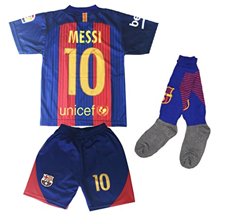 Youth FC Barcelona Messi 10 Jersey/Shorts Football Soccer (Drifit) (8-10 yrs, With Socks)