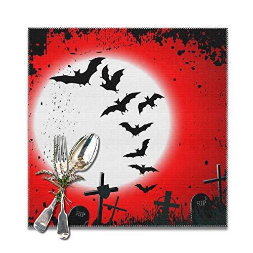 Rterss Tischsets, Halloween-Hintergrund, zerstörter Friedhof, waschbar, weich und knitterfrei, 30,5 x 30,5 cm, 6 Stück