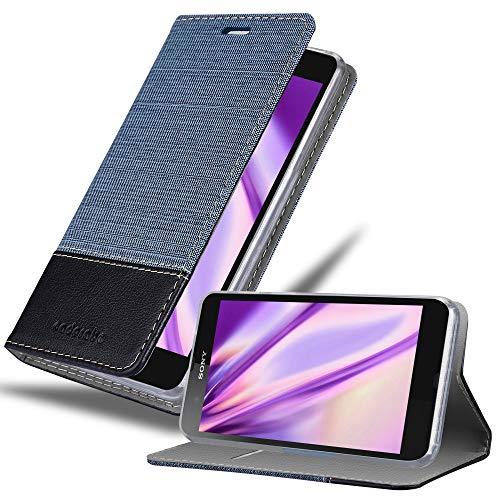 Cadorabo Hülle für Sony Xperia Z - Hülle in DUNKEL BLAU SCHWARZ – Handyhülle mit Standfunktion und Kartenfach im Stoff Design - Case Cover Schutzhülle Etui Tasche Book