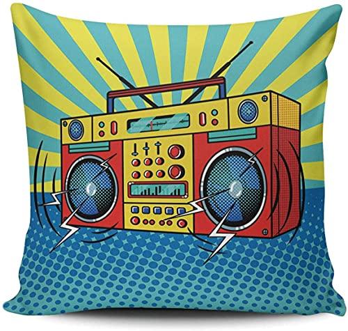 BONRI Funda de almohada para sofá decorativo retro con altavoz de cómic de 50,8 x 50,8 cm, cuadradas, fundas de cojín, multicolor 05