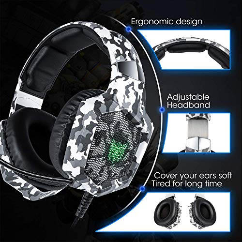 ONIKUMA PS4 Gaming-Headset Xbox One Kopfhörer mit RGB-LED-Licht, Rauschunterdrückungs-Mikrofon für Nintendo Switch, Xbox One S, PC, Smartphone, Laptop, Computer (K8 Camouflage)