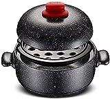 Plato para cazuela con tapa, cacerolas para cocinar Cacerola con tapa, utensilios de cocina para estufa de cerámica, vaporera, olla para sopa resistente al calor, cazuela de piedra de granit