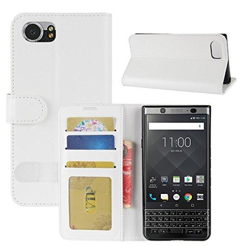 HualuBro BlackBerry KEYone Hülle, Retro Leder Brieftasche Etui LederHülle Tasche Schutzhülle HandyHülle Handytasche Leather Wallet Flip Hülle Cover für BlackBerry KEYone - Weiß