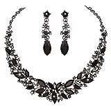 Nuevo collar para hija con cristales de diamantes de imitación conjuntos de joyas con coronas nupciales de boda y vestido de fiesta conjuntos para collar de dama de pájaros (color metálico: negro)