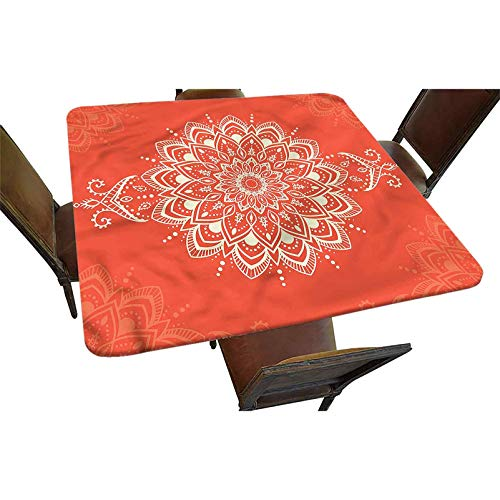 Henna Decorative Elastic Edged Square Fitted Tablecloth,Kaleidoscopic Polyester Indoor Outdoor Fitted Tablecover for Folding Table Picnic Birthday Camping Garden Banquet Fit Square Table up to 42'