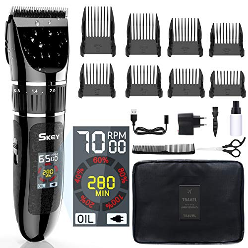 SKEY Professional Hair Clippers - Hair trimmer Cordless Haircut Kit with Titanium & Ceramic Blades Waterproof for Quick Cut, Rechargeable with LED Display Hairdressing Cape and Travel Bag