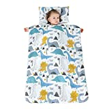 JYCRA - Saco de Dormir para bebé, diseño de Dibujos Animados, Manta Unisex con Almohada extraíble para guardería Preescolar, Tropical Dinosaur, 90 x 120 cm