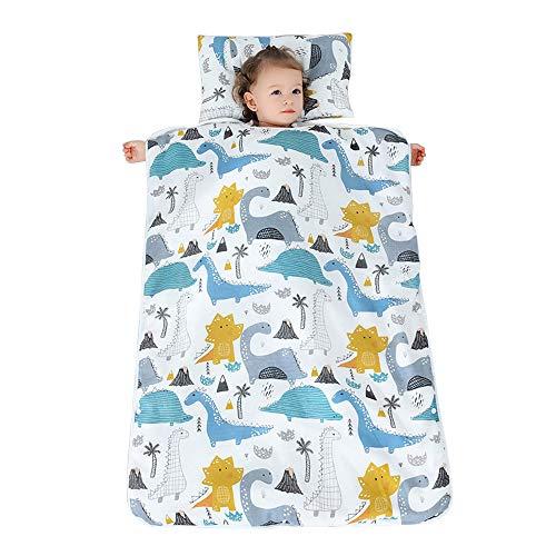 JYCRA Baby-Schlafsack, Cartoon-Muster, Unisex, tragbare Decke mit abnehmbarem Kissen für Kindergarten, Tropical Dinosaur, 70x100cm