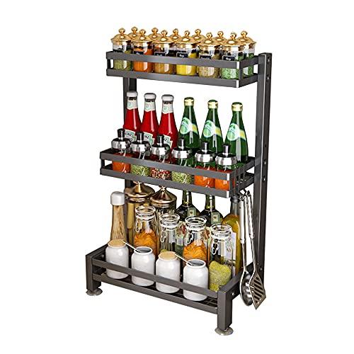 XGGYOOG Spice Rack de Cocina de Acero Inoxidable, Especiero Multifunción para el Hogar, Carga Fuerte, Fácil de Montar/A / 3 Tier