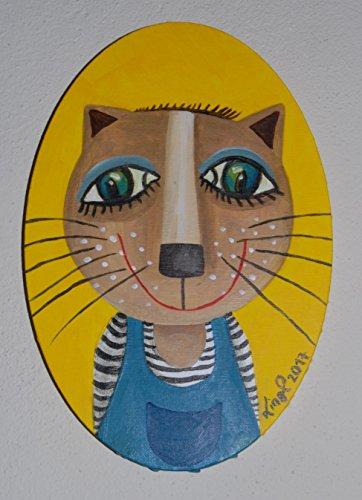 Bild, Wanddekoration, Acrylbild, Bild auf Leinwand, Katze, Original, Kinderzimmer