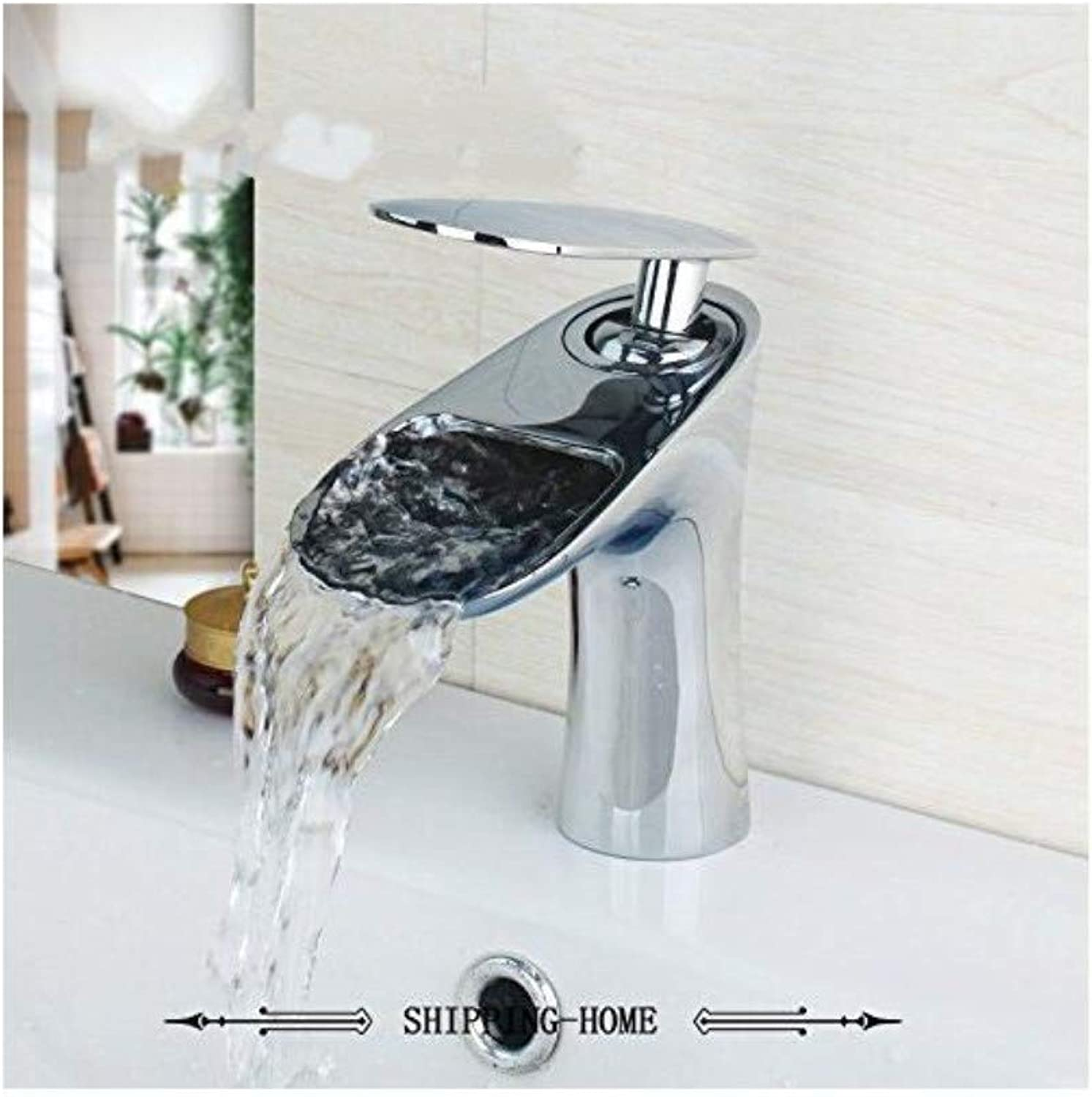 Faucet Kitchen Washing Basin Chrome Polished Faucet Silver Deck Mounted Waterfall Bathroom Wash Basin Sink Faucets Mixers & Taps