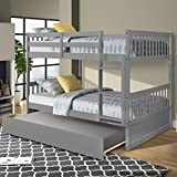 Full Over Full Bunk Bed with Trundle, HABITRIO Solid Wood Bed Frame w/Twin Size Pullout Trundle, Ladder, Safety Rail, Space Saving Design Furniture for Kids Adults Bedroom, No Box Spring Needed, Grey