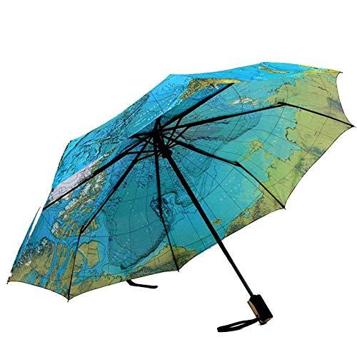 Sonnenschirm Regenschirm Kreative Vollautomatische Dreifache Blaue Karte Regenschirm Regen Frau Persönlichkeit Falten Ultraleichte Sonne Travel Man Anti-Uv-Regenschirm