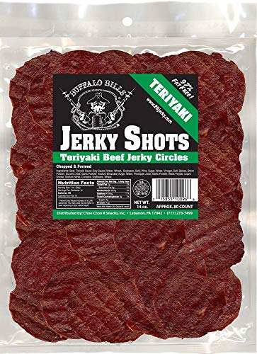 Buffalo Bills 14oz Teriyaki Beef Jerky Shots (80 teriyaki beef jerky circles per bag)