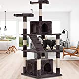 Dkeli 64' Cat Tree Tower Condo Furniture Kitty Activity Tree with Sisal Scratching Post, Perches, Cave, Funny Toy, Multi Level Big Cat Play House Bed for Kitten, Kitty, Cat, Pet - Gray
