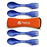 Tapirus 4 Blue Spork to Go Set - Durable and BPA Free Sporks - Spoon, Fork and Knife Combo Utensils...