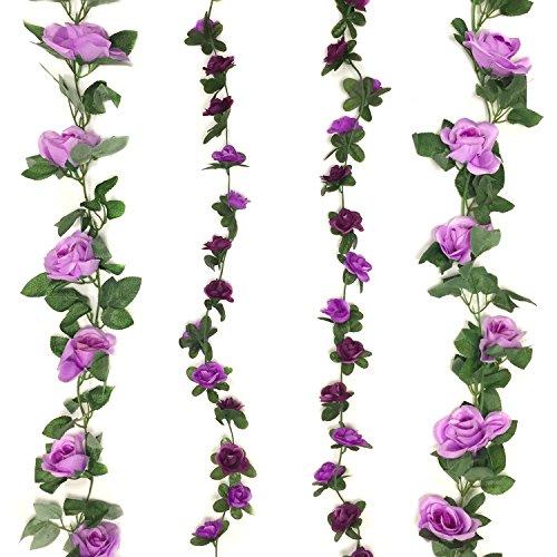 Cocodeko 4 Pack Artificial Fake Rose Silk Flower with Green Leaf Vine Plastic Hanging Vine Garland Artificial Flora Wreath for Home Yard Fence Wedding Garden Decoration - Purple and Lavender