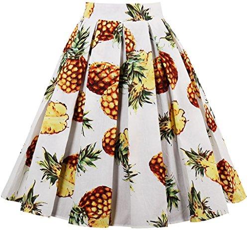 EUDOLAH Falda a Media Pierna con Falda Plisada Estampado Floral en línea de Cintura Alta Vintage de Mujer(Piña,M)