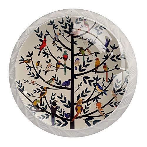 Juego de 4 pomos vintage de árbol de la vida con diseño de pájaros