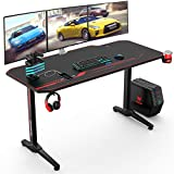VANSPACE 55 Inch Ergonomic Gaming Desk with Free Mouse Pad, T-Shaped Office Desk PC Computer Desk, Gamer Tables Pro Workstation with USB Gaming Handle Rack, Stand Cup Holder&Headphone Hook