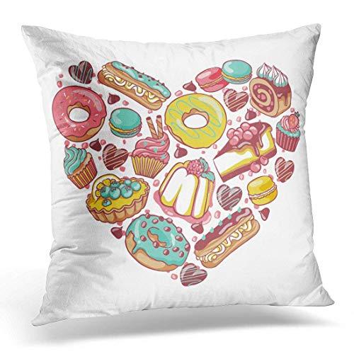 dpcm Funda de almohada con diseño de corazón con donut, chocolate, macarón, Eclair Pie
