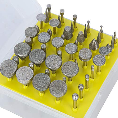 Drilax 50 Pieces Diamond Drill Bit Burr Set Grit 120 Sea Glass for Crafts Rocks Marble Porcelain Hand Drill Jewelry Making Lapidary Engraving Compatible with Dremel Tool Accessories 1/8 Inch