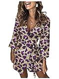 HEFASDM Womens Short Dress Premium Sequin Glitter V-Neck Club Dresses Purple XL