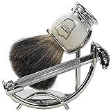 Parker 29L Safety Razor Shave Set - Includes Black Badger Brush, Stand & Parker 29L Butterfly Open...