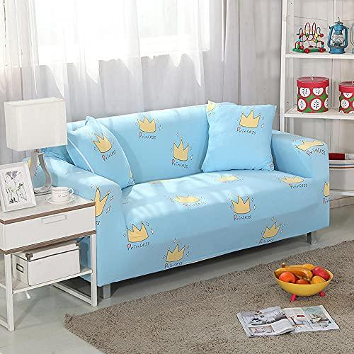 Funda Elástica para Sofá Cubierta del sofá Funda de sofá Funda elástica Protectora para sofá Material de poliéster Corona Amarilla Viene con 3 Fundas de Almohada