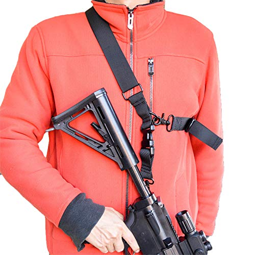 Rifle Sling 2 puntos Sling One Point Sling Airsoft Multi-use Rifle Correa de transporte rápida ajustable con clips de metal para la mayoría de anillos de pistola o soporte