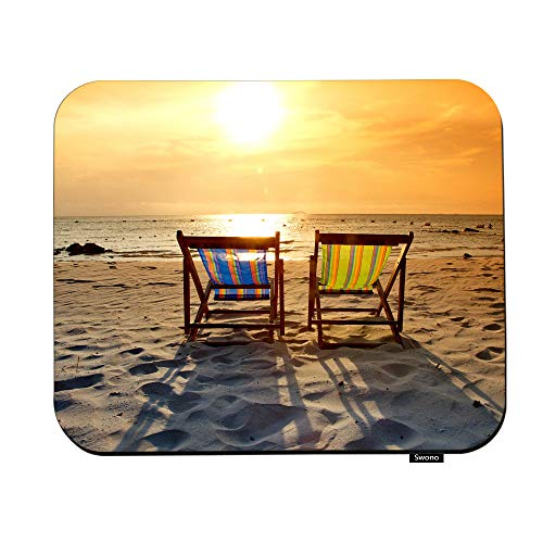 Swono Beautiful Sunset Mouse Pads Tropical Beach Landscape Two Deckchairs On The Sandy Mouse Pad for Laptop Funny Non-Slip Gaming Mouse Pad for Office Home Travel Mouse Mat 7.9'X9.5'