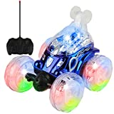 RC Stunt Cars for Kids Remote Control Stunt Car 4WD Off Road 360° Spins & Flips ,Rechargeable Vehicle with Colorful Lights & Music Switch for Kids, ,car Toy Gifts for Kids Girls(Bule)