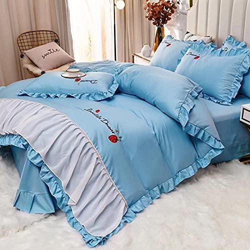 Individual Funda de edredón y Funda,Set de sábanas de sábanas Set 4 PCS 1 Duvet Funda 1 Hoja ajustada 2 Casas de almohadas, más adecuadas para la decoración del dormitorio, las habitaciones.-B_Cama d