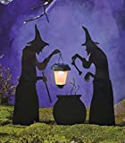 3 Piece Witch Stake Cauldron Pot Solar Lighted Lantern Halloween Silhouette Yard Display Decoration