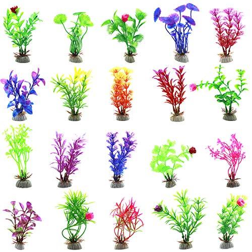 Disino 20 STK Aquarium Pflanzen Kunststoff Künstliche Wasserpflanzen Buntes Fisch Tank Pflanze