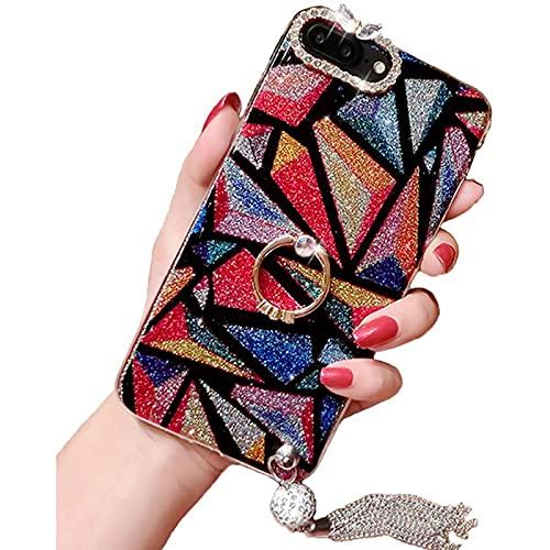 NZAUA Custodia per Cellulare, Adatto per iPhone 6 Custodia in Pelle di Limone Nero, Lusso Mixed Glitter Diamante Morbido Gel di Silicone in Gomma Lucido Scintillante Coper iphone8