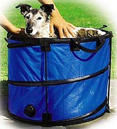 Hundebadewanne - Doggypool - Hundewanne - Hunde-Pool - Hundepool- PopUp - tragbar - blau-schwarz - Ø 50 cm - Höhe 40 cm