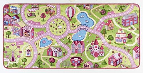 Hanse Home Sweet Town - Alfombra Infantil de Pelo Corto (90 x 200 cm, 100% Poliamida, Revestimiento Antideslizante, fácil de Limpiar, Apta para Suelo Radiante), Color Rosa