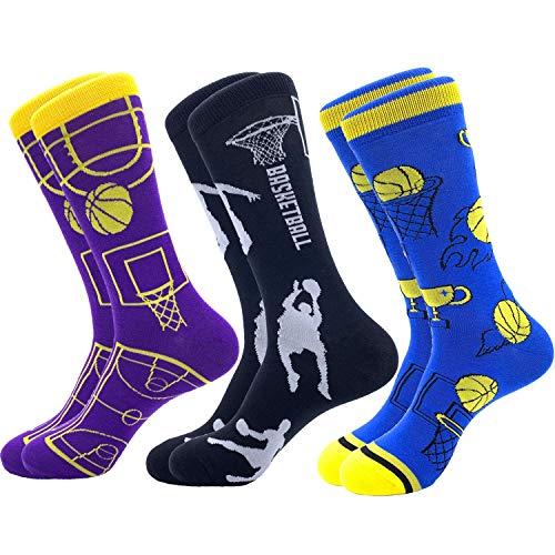 Jielucix Calcetines Hombre Algodon Dibujos Divertidos con Dibujos Calcetines de Colores de Moda Calcetines Ciclismo Hombres Originales (Baloncesto, 3)