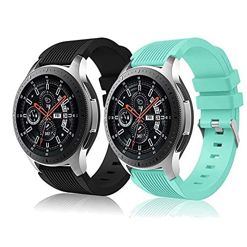 Correa de reloj compatible con Huawei Watch GT2 Pro/Samsung Galaxy Watch 46 mm/Galaxy Watch 3/Gear S3 45 mm 22 mm Smart Sport Watch Correa de repuesto para hombres y mujeres-negro + verde azulado