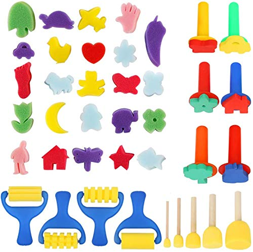 39pcs Paint Sponges for Kids, YGDZ Early Learning Kids Paint Brushes Sponge Stamps Foam Art Craft Drawing Tools for Kids Toddlers