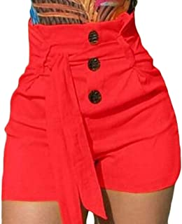 Yeirui Womens Buttons Belted Waisted High Casual Wide-Leg Solid Beach Casual Shorts