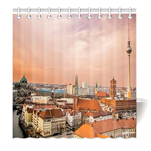 YISUMEI Hem Gewichte Vorhang Duschvorhang Mode Duschvorhänge 180x200 cm Berlin Skyline Dämmerung
